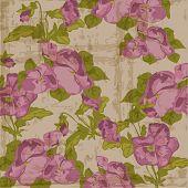 Vintage Viola flowers Background in vector
