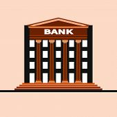 Financial Institution Architecture. Bank Building Isolated With Gable And Columns. Vector Flat Illus poster