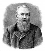 Russian journalist, editor, drama critic and playwright Alexei Suvorin. Engraving by Shyubler . Published in magazine