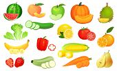 Sliced Foods. Chopped Vegetables And Sliced Fruit. Chop Vegetable, Fruits And Berries Slice Cartoon  poster