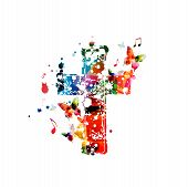 Colorful Christian Cross With Music Notes Isolated Vector Illustration. Religion Themed Background.  poster