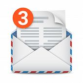 New Message Notification, Three Incoming Messages, Mail Or Email Icon. Opened Envelope With Letter A poster