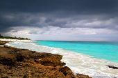 hurricane tropical storm beginning Caribbean sea dramatic sky Tulum