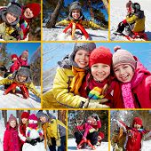 Collage of happy friends on winter vacations