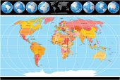 High Detailed Vector World Map with Globes, include all Countries with Capitals. poster