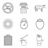 Rodent Icons Set. Outline Set Of 9 Rodent Icons For Web Isolated On White Background poster