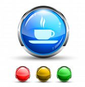 Coffee Bar Cristal Glossy Button with light reflection and Cromed ring. 4 Colours included.