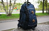 Backpack For Hiking, Travelling And City Life. Close-up And Details Of The Bright Backpack. poster
