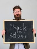 School And Teacher Wait For You. Teacher Advertises Back To Studying, Begin School Year. Teacher Or  poster