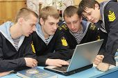Marine Cadets On The Lesson With Laptop