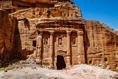 Ruins Of Petra, The Capital Of The Kingdom Of The Nabateans In Ancient Times. Unesco World Heritage poster