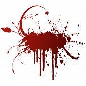 Floral Grunge Ink Splatter Design Element