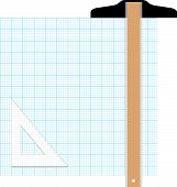 stock photo of graph paper  - Draw your graphic plan on this graph paper copy space - JPG
