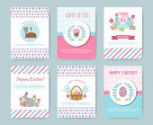 Set Of Easter Greeting Cards. Cute Happy Easter Templates With Eggs, Flowers, Willow, Rabbit And Typ poster