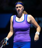 MELBOURNE - JANUARY 17: Petra Kvitova of the Czech Republic in her first round win over Vera Dushevi
