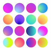 Rounded Holographic Gradient Sphere. Multicolor Green Purple Yellow Orange Pink Cyan Fluid Circle Gr poster