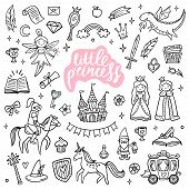 Cute Fairy Tale And Magic Objects. Hand-drawn Cartoon Elements Isolated On White Background. Doodle  poster