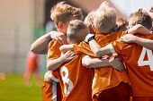 Boys Soccer Football Team Huddle. Children Play Sports Game. Kids Sporty Team United Ready To Play G poster