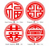 Chinese Character Of Fu Lu Shou Xi (good Fortune,prosperity,longevity,double Happiness) With Decorat