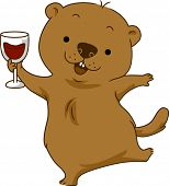 picture of groundhog day  - Illustration of a Groundhog Doing a Toast - JPG