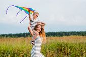 Mom Son Play Actively Have Fun Outdoors Happy Motherhood Childhood Youth Care Of Children Health Edu poster