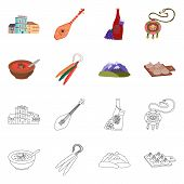 Isolated Object Of Culture And Sightseeing Logo. Set Of Culture And Originality Stock Symbol For Web poster