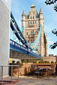 Tower Bridge, combined bascule and suspension bridge  over the River Thames in London, England, UK n poster