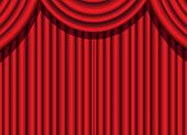 red velvet curtain of a theatrical event