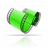 Green film reel isolated on white