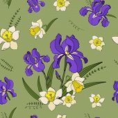 Seamless Vector  Pattern Of  Iris Narcissus Flowers. Endless Botany Texture For Fabrics, Textile Pri poster