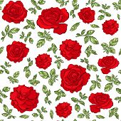 Vector Seamless Pattern Of Hand Drawn Sketch Roses Flowers. Endless Botany Texture For Fabrics, Text poster