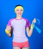Sport Jump Rope Equipment. Athletic Fitness. Sporty Woman Training In Gym With Jump Rope. Health Die poster