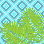 Trendy Hand Drawn Pattern With Colorful Banana Leaf Drawn Outline On Geometric Blue And White Backgr poster