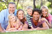 stock photo of extended family  - Extended Family Group Relaxing In Park Together - JPG