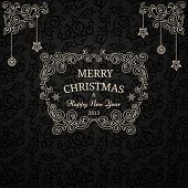 Luxury Christmas card on black pattern