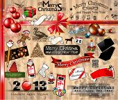 2013 Christmas Vintage typograph design elements: vintage labels. ribbons, stickers, baubles and gif