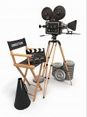 Movie composition. Vintage camera, director chair and reels. 3d