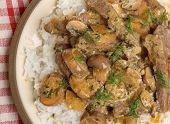 Beef stroganoff with rice.
