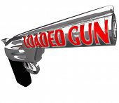 A pistol firearm with the words Loaded Gun on the barrel to symbolize being ready to shoot or commit