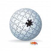 Jigsaw Puzzle Globe, Sphere Isolated on White Background