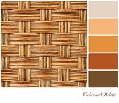Wickerwork colour palette background with complimentary colour swatches.