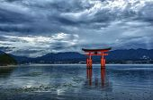 Great floating gate (O-Torii) on Miyajima island near Itsukushima shinto shrine, Japan shortly after
