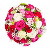 Beautiful ornamental wreath in the shape of sphere made of natural multicolored roses isolated on wh