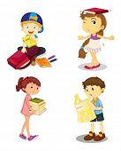 ilustração de uma crianças e livros sobre fundo branco