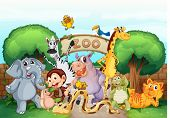 stock photo of zoo  - illustration of a zoo and the animals in a beautiful nature - JPG