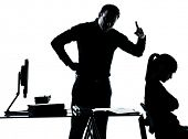 one man father professor and student teenager girl helping for homework in silhouette indoors isolat