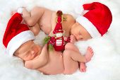 Christmas image of newborn twin babies of 11 days old