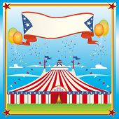 red and blue circus big top. A big top in a field for you