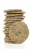 Laverbread savoury biscuits in a stack  over white background. Welsh speciality.