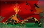 illustration with dinosaurs near volcano